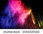 multicolored powder explosion... | Shutterstock . vector #1032320182