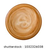 top view of hot coffee latte... | Shutterstock . vector #1032326038