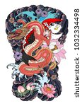 red dragon with koi carp and... | Shutterstock .eps vector #1032334498