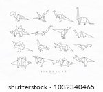 set of dinosaurs in flat... | Shutterstock .eps vector #1032340465