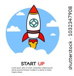 start up. rocket ship. vector | Shutterstock .eps vector #1032347908
