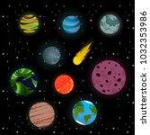 cute cartoon  planets set | Shutterstock .eps vector #1032353986
