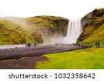 panoramic view of skogafoss... | Shutterstock . vector #1032358642