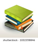 stack of books and pics albums  ... | Shutterstock .eps vector #1032358846