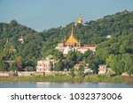 sagaing hill from ferry ... | Shutterstock . vector #1032373006