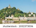 sagaing hill from ferry ... | Shutterstock . vector #1032373036