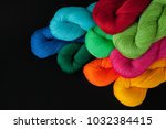 bright thread in skeins  yarn... | Shutterstock . vector #1032384415