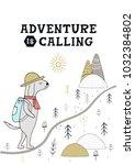 adventure is calling   cute... | Shutterstock .eps vector #1032384802