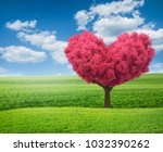 summer green field and pink... | Shutterstock . vector #1032390262