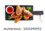 roasted chicken wings and sweet ... | Shutterstock . vector #1032390952