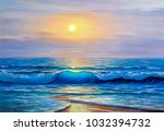 morning on sea  wave ... | Shutterstock . vector #1032394732