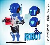 robot character design with... | Shutterstock .eps vector #1032396172