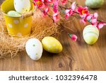 easter eggs decoration with... | Shutterstock . vector #1032396478