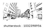 downtown road view with... | Shutterstock .eps vector #1032398956