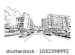 downtown road view with... | Shutterstock .eps vector #1032398992