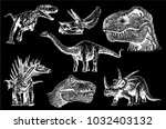 graphical set of dinosaurs... | Shutterstock .eps vector #1032403132