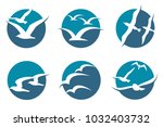 collection of icon with flying... | Shutterstock .eps vector #1032403732
