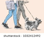 citizens with a pet go for a... | Shutterstock .eps vector #1032412492