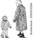 grandmother and her grandson... | Shutterstock .eps vector #1032413266