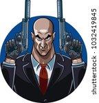 assassin holding guns with... | Shutterstock .eps vector #1032419845