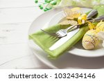 easter table setting with... | Shutterstock . vector #1032434146