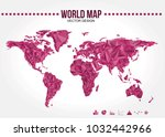 polygonal world map vector... | Shutterstock .eps vector #1032442966