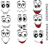 cartoon mouth eyes set of face... | Shutterstock .eps vector #1032454942