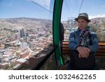 young woman tourist in la paz... | Shutterstock . vector #1032462265