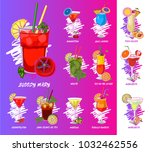 vector cocktails set isolated ... | Shutterstock .eps vector #1032462556