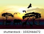 savanna vector landscape with... | Shutterstock .eps vector #1032466672
