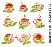 tea set. vector | Shutterstock .eps vector #1032469942