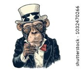 monkey uncle sam with pointing... | Shutterstock .eps vector #1032470266