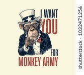 monkey uncle sam with pointing... | Shutterstock .eps vector #1032471256