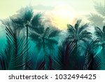 tropical vector jungle... | Shutterstock .eps vector #1032494425