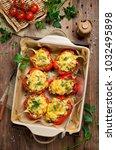 oven baked sweet paprikas... | Shutterstock . vector #1032495898