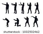 man with gun silhhouette in set | Shutterstock .eps vector #1032502462