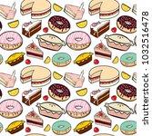 donuts seamless pattern | Shutterstock .eps vector #1032516478
