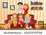 family with three girls and... | Shutterstock .eps vector #1032519556