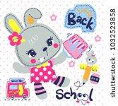 happy cartoon rabbit girl ready ... | Shutterstock .eps vector #1032523858