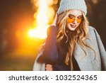 autumn fashion. happy young... | Shutterstock . vector #1032524365