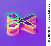 icon of yellow green scissors... | Shutterstock . vector #1032525886