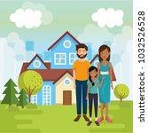 family members outside of the... | Shutterstock .eps vector #1032526528