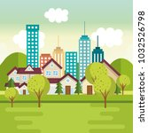 landscape with neighborhood... | Shutterstock .eps vector #1032526798