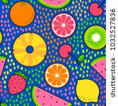 colourful tropical fruits...   Shutterstock .eps vector #1032527836