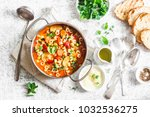 minestrone soup in a pan on a...   Shutterstock . vector #1032536275