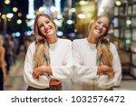 blonde girl wearing white... | Shutterstock . vector #1032576472