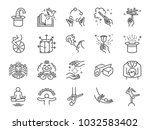 magic show line icon set.... | Shutterstock .eps vector #1032583402