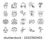magic show line icon set.... | Shutterstock .eps vector #1032583402