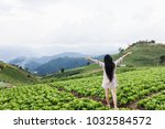 back or rare view long black... | Shutterstock . vector #1032584572