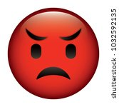 cute red smile emoticon angry | Shutterstock .eps vector #1032592135